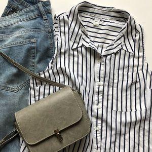 Striped Sleeveless Button Down